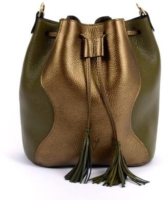 Atelier Hiva Rivus Leather Bag Metallic Brown & Khaki