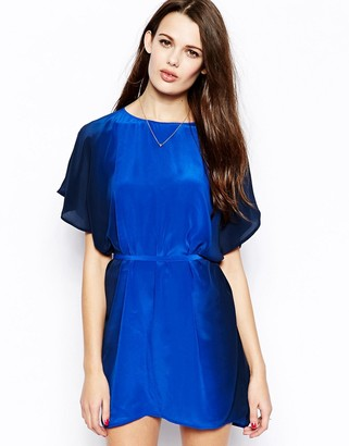 French Connection Down By The Sea Tie Waist Silk Dress-Blue