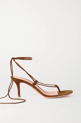 Gianvito Rossi 70 Suede Sandals - Tan