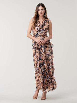 Diane von Furstenberg Lacey Silk Maxi Wrap Dress