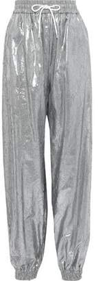MSGM Metallic Crinkled Shell Tapered Track Pants