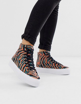 Dakota ASOS DESIGN chunky hi top sneakers in bright tiger print