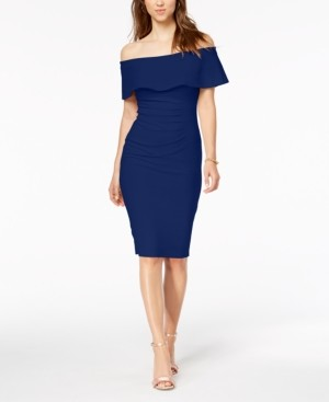 Xscape Evenings X by Off-The-Shoulder Sheath Petite Dress