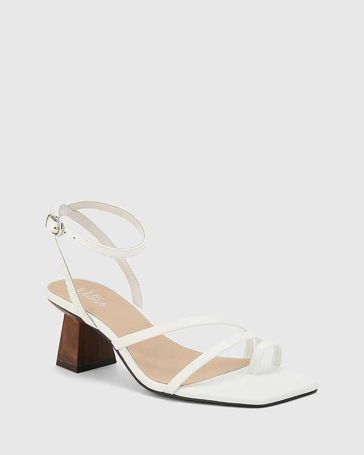 Thumbnail for your product : Wittner - Women's White Strappy sandals - Kaiya Leather Strappy Sculptured Heel Sandals - Size One Size, 39 at The Iconic
