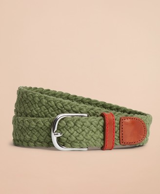 Brooks Brothers Braided Leather-Trim Belt