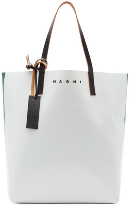 Marni Green and Off-White PVC Shopping Tote