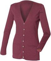 Henbury Ladies/Womens V-Neck Button Fine Knit Cardigan