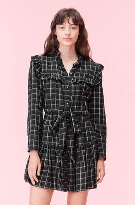 Rebecca Taylor La Vie Drapey Plaid Ruffle Dress