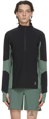 On Black and Green Trail Breaker Half-Zip Sweater