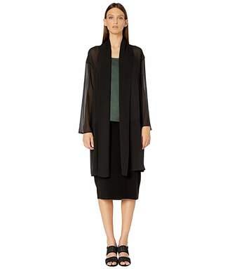 Eileen Fisher Sheer Silk Georgette Kimono Knee Length Jacket