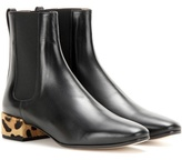 Francesco Russo Calf Hair-embellished Leather Chelsea Boots