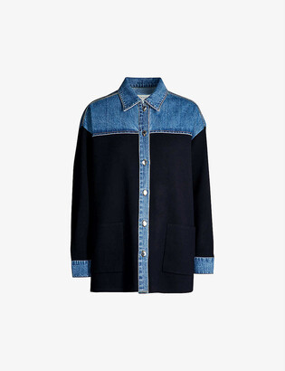 Sandro Oversized knitted and stretch-denim jacket