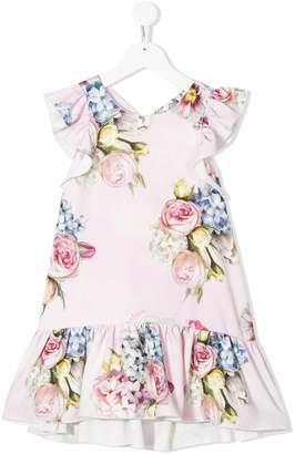 MonnaLisa Floral Print Ruffle Dress