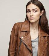 Reiss Torre - Leather Biker Jacket in Brown, Womens