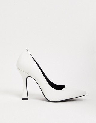 Public Desire Dahlia feature heeled shoe in white