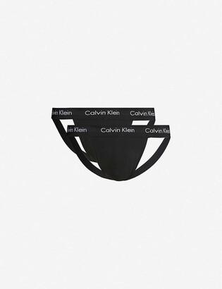 Calvin Klein Logo-embellished stretch-cotton jockstraps pack of two