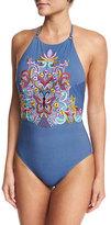 Nanette Lepore Dazed Denim Goddess Halter Embroidered One-Piece Swimsuit