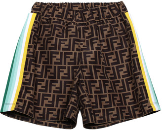 Fendi Boy's Logo Racer Stripe Shorts, Size 8-14
