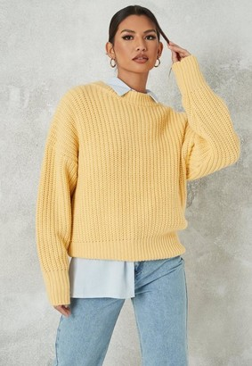 Missguided Yellow Chunky Knit Crew Neck Sweater