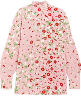 Valentino Open-back Floral-print Silk Crepe De Chine Blouse - Pink