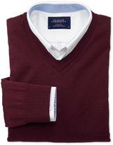 Charles Tyrwhitt Wine Merino Wool V-Neck Sweater Size Large