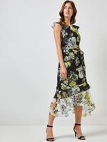 Dorothy Perkins Floral Asymmetric Ruffle Midi Dress - Black