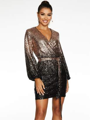 Quiz X Sam Faiers Wrap Front Sequin Balloon Sleeve Bodycon Dress - Black/Gold