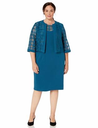 Maya Brooke Women's Plus Size Windowpane Short Jacket Dress