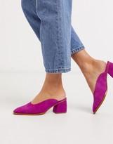 Asos Design DESIGN Signal premium suede mid-heeled mules in magenta