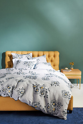 Anthropologie Jacquard-Woven Galia Duvet Cover By in Blue Size Q top/bed