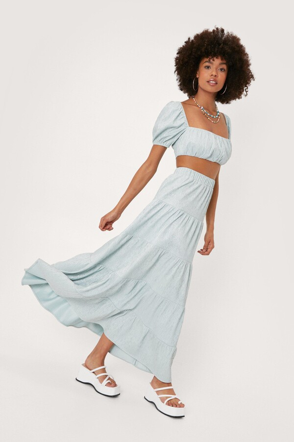 Thumbnail for your product : Nasty Gal Womens Plisse Tiered High Waisted Maxi Skirt - Green - 4