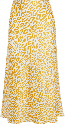 Rebecca Minkoff Davis Leopard-print Satin-twill Midi Skirt