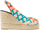 Castaner Beli embroidered canvas and leather wedge sandals