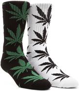 HUF Plantlife Crew Socks in White, Plantlife Crew Socks