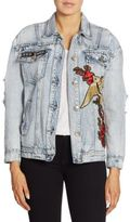 True Religion Embroidered Distressed Denim Jacket