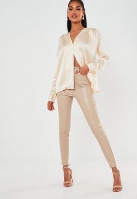 Missguided Satin Pleat Shoulder Collarless Shirt
