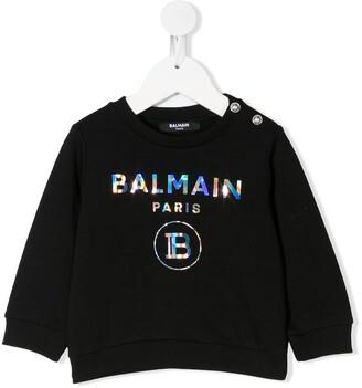 Balmain Kids Iridescent Logo-Print Sweatshirt