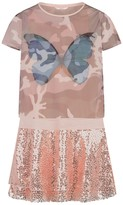 GUESS Peach Butterfly Dress With Sequin Skirt