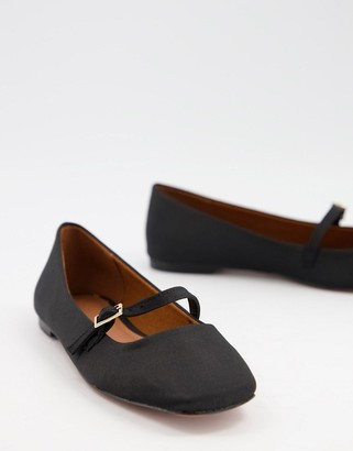 ASOS DESIGN Lolly mary jane ballet flats in black
