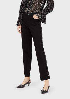 Emporio Armani J25 Relaxed-Fit Comfort Denim Jeans With Sequins At The Sides
