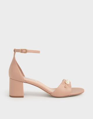 Charles & Keith Embellished Block Heel Sandals