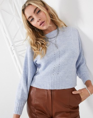 Topshop ribbed sweater in blue marl