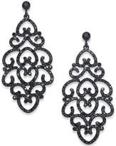INC International Concepts Black-Tone Jet Pavé Drop Earrings, Created for Macy's