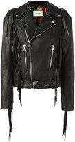 Gucci fringed biker jacket - women - Silk/Leather - 42