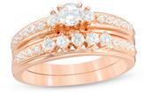 Zales 5/8 CT. T.W. Diamond Three Stone Bridal Set in 14K Rose Gold