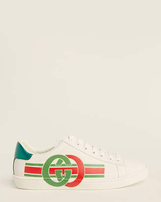 Gucci Ladies White Ace Embroidered Low-Top Sneakers