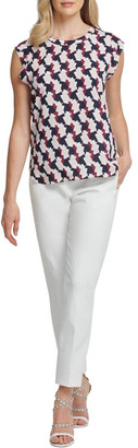 DKNY Foundation - Printed Flutter Cap Sleeve Top