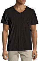7 For All Mankind Raw Short-Sleeve V-Neck Tee, Black
