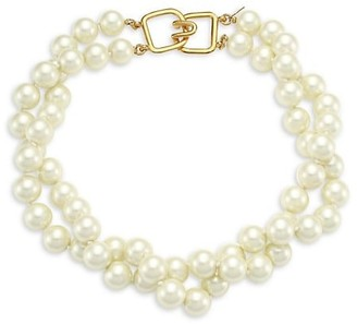 Kenneth Jay Lane 2-Row Twisted Glass Pearl Choker Necklace