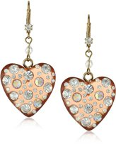 """Betsey Johnson Betsey Basics"""" Large Pink Lucite and Crystal Earrings"""